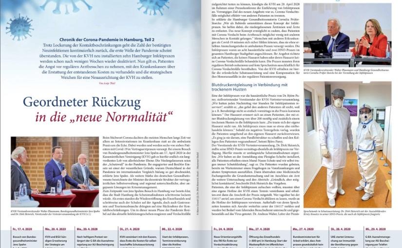 Zweiteilige Chronik der Corona-Krise im Hamburger Ärzteblatt im Mai und Juni2020